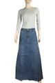 Blue Maxi length Jeans Denim Skirt Plus Size