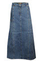 Womens Ladies Denim Long Skirt