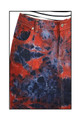 Red Black Blue Tie Dye Denim Long Skirt