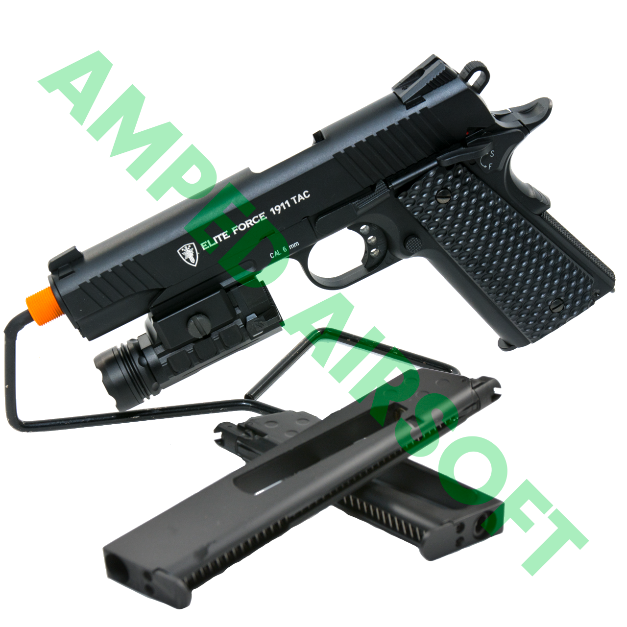 Amped Bundle - Elite Force 1911 Tactical (Black) Light Bundle with UTG Weapon Light, and extra Standard and Extended Magazines for a total of 3 Mags!