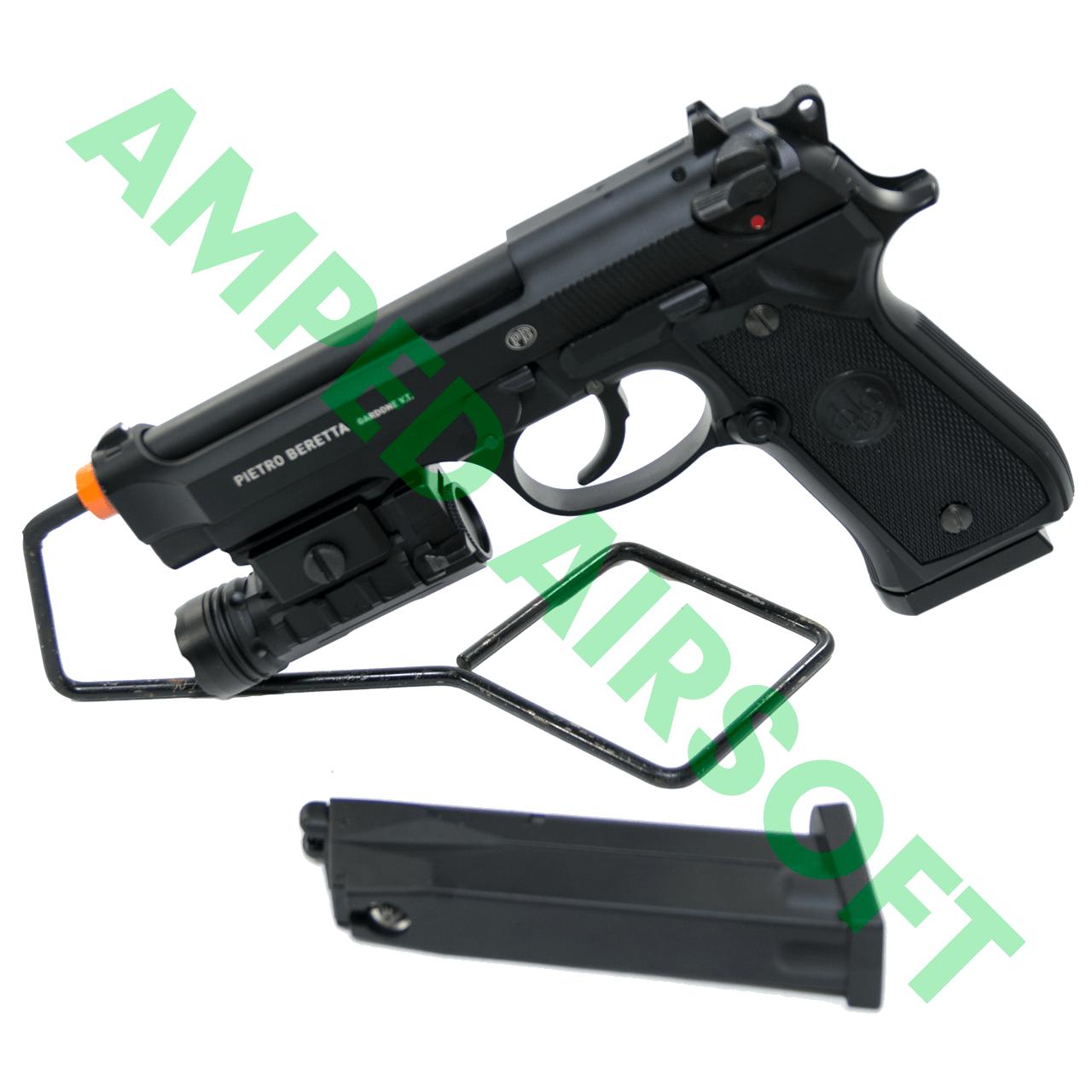 Amped Bundle - Elite Force Beretta M92 A1 CO2 Blowback Pistol Light & Magazine Bundle with Light Mounted