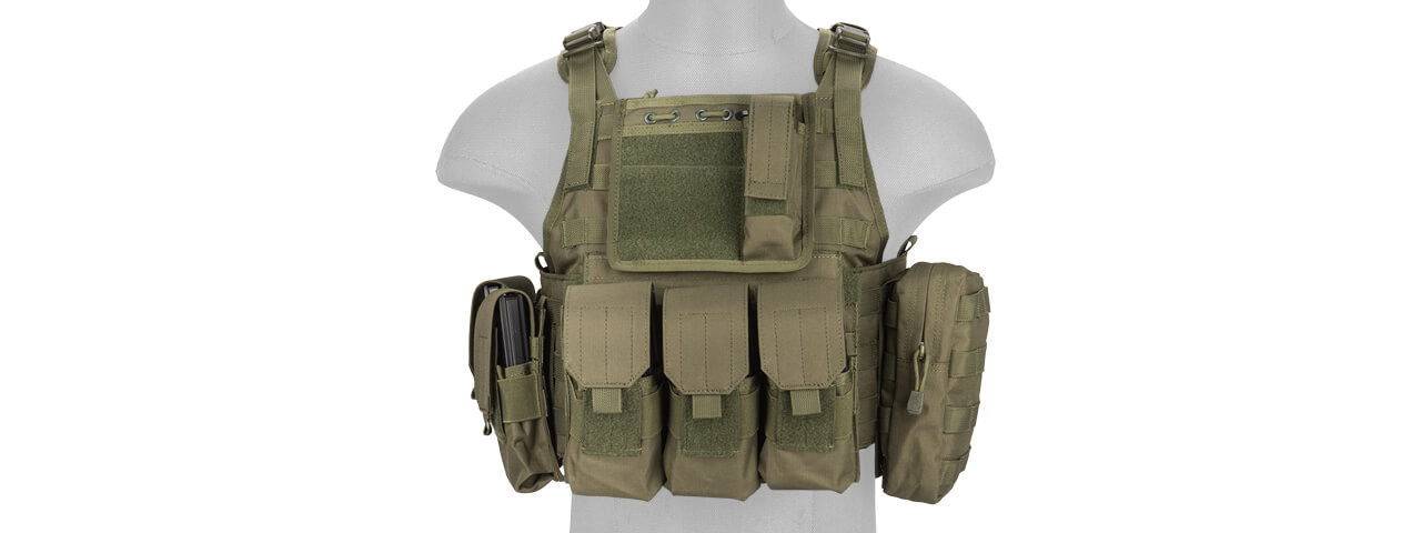 green OD Airsoft olive MOLLE seals Simple Plate Carrier