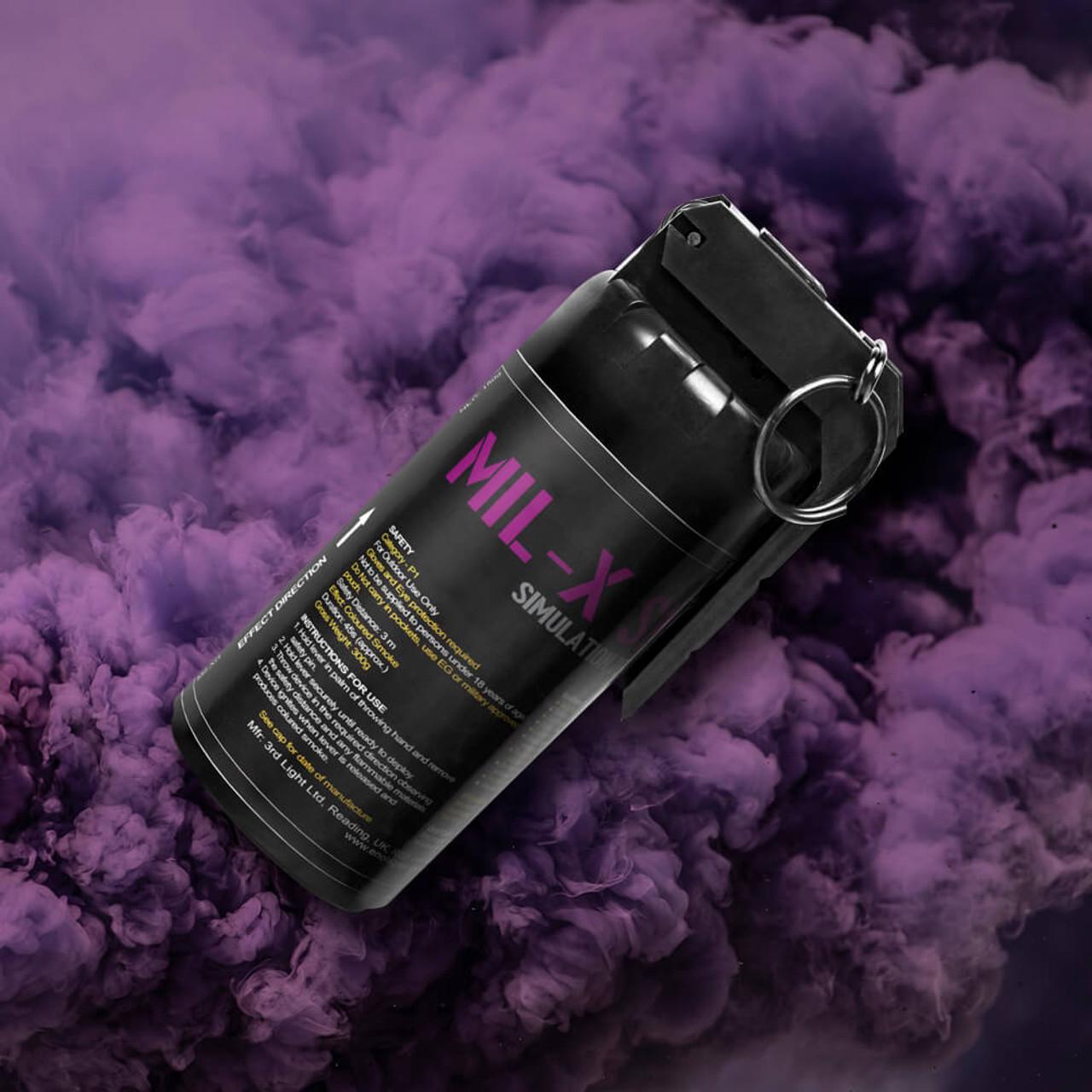 Enola Gaye - MIL-X Smoke Grenade   Purple Smoke Plume