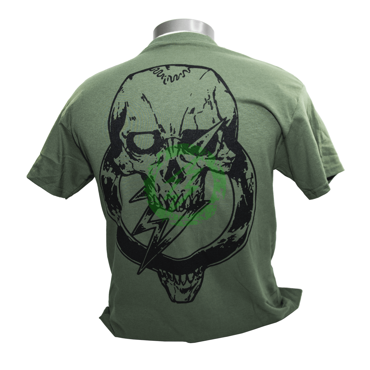 Amped Airsoft T-Shirt Skull Bolt   Olive Drab Back