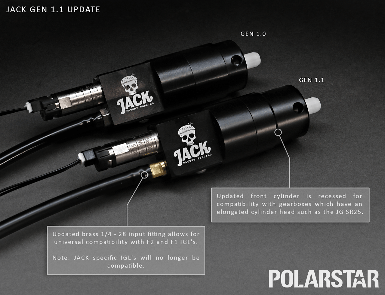 Differences between the JACK 1.0 and JACK 1.1.  Please note the differences so that you can choose the correct IGL for your JACK!