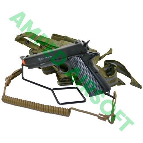 Amped Bundle - Elite Force 1911A1 (Black) Retention Bundle with Condor Lanyard and Tornado Pistol Holster