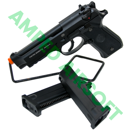 Amped Bundle - Elite Force Beretta M92 A1 CO2 Blowback Magazine Bundle on Stand