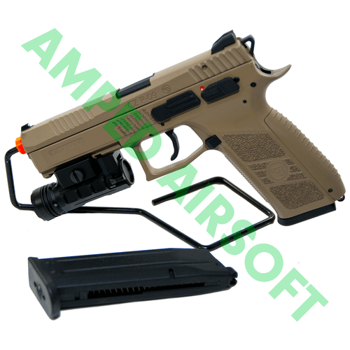 Amped Bundle - ASG CZ P-09 Polymer (FDE) Light & Magazine Bundle  with Light Attached