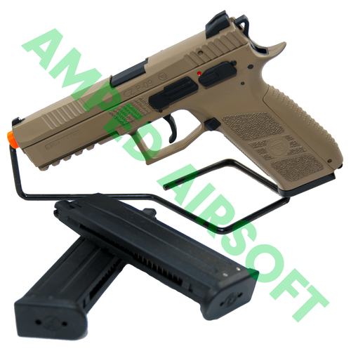 Amped Bundle - ASG CZ P-09 Polymer (FDE) Magazine Bundle on Gun Stand