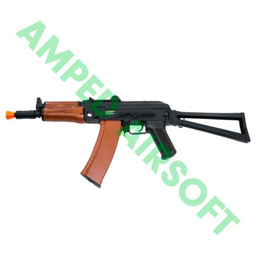 CYMA - Full Metal AKS-74U with Folding Stock Airsoft AEG Rifle (Wood Furniture) Left Side