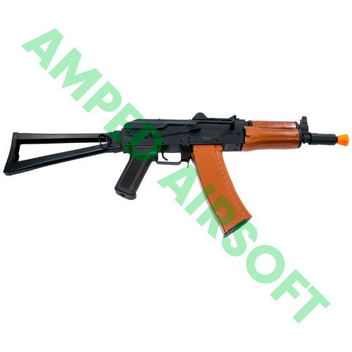 CYMA - Full Metal AKS-74U with Folding Stock Airsoft AEG Rifle (Wood Furniture) Right Side