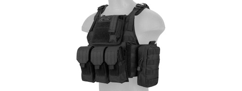 Lancer Tactical - Nylon Tactical Assault Plate Carrier (Black) Front Left Profile
