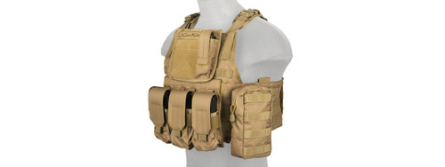 Lancer Tactical - Nylon Tactical Assault Plate Carrier (Tan) Left Profile