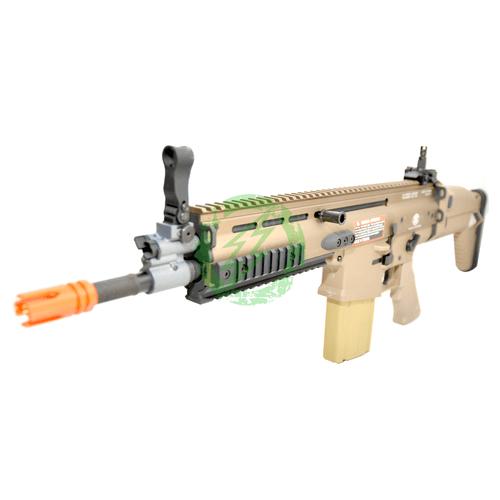 VFC SCAR H CQC Licensed Cybergun FN Herstal | Tan SCAR-H MK17  barrel left