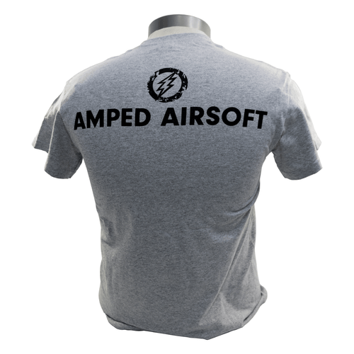 Amped Airsoft T-Shirt Black Splatter | Heather Grey back