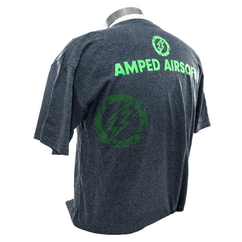 Amped Airsoft T-Shirt Green Splatter | Dark Heather Grey back