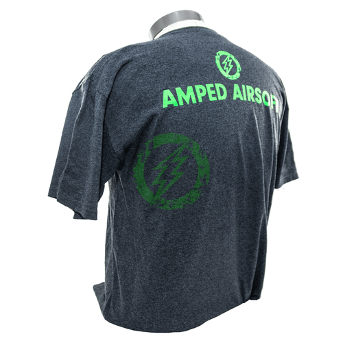 Amped Airsoft T-Shirt Green Splatter | Dark Heather Grey back