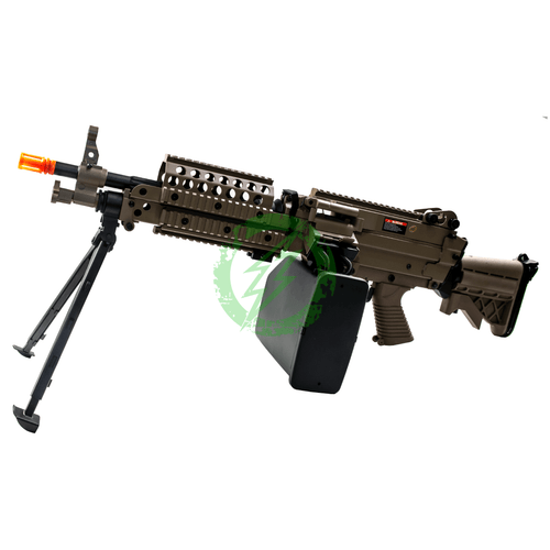 Cybergun Dark Earth FN Licensed M249 Airsoft Machine Gun | MK46 left