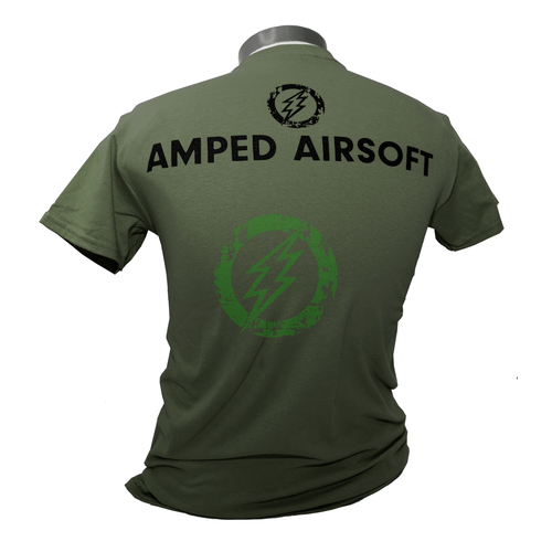 Amped Airsoft Black Splatter T-Shirt | OD Green Back