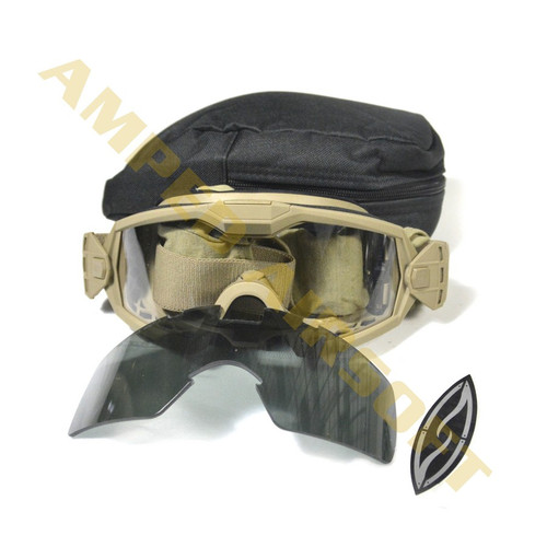 Smith Optics Elite - Outside The Wire (OTW) Turbo Fan Goggles Field Kit (Tan Frame / Clear & Grey Lens)