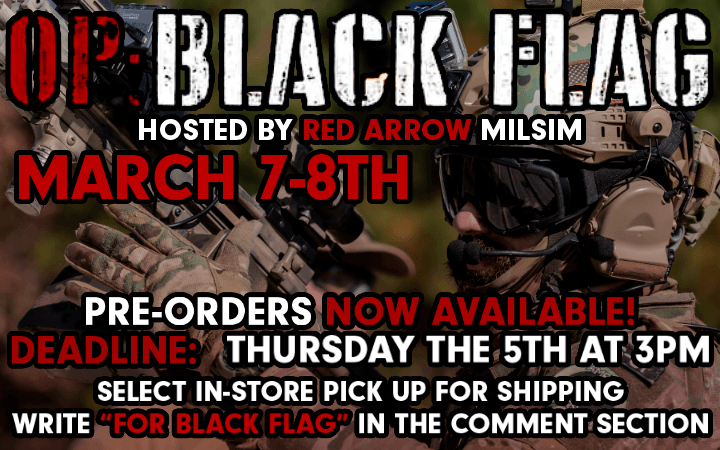 amped airsoft black flag operation op red arrow march 7 event