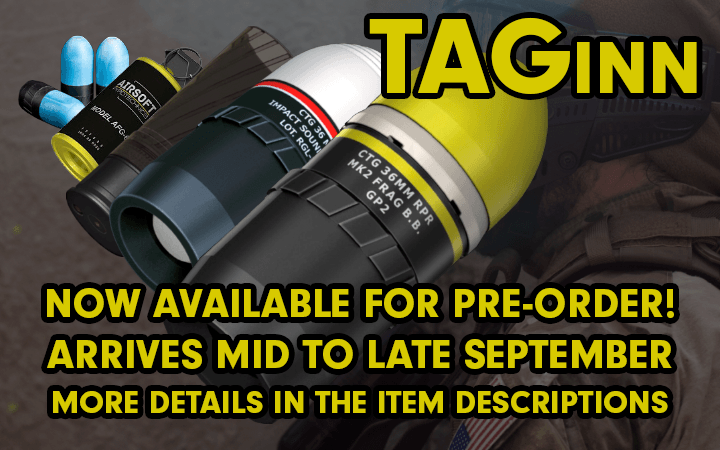 amped airsoft taginn rounds pre order september  grenades launching projectiles