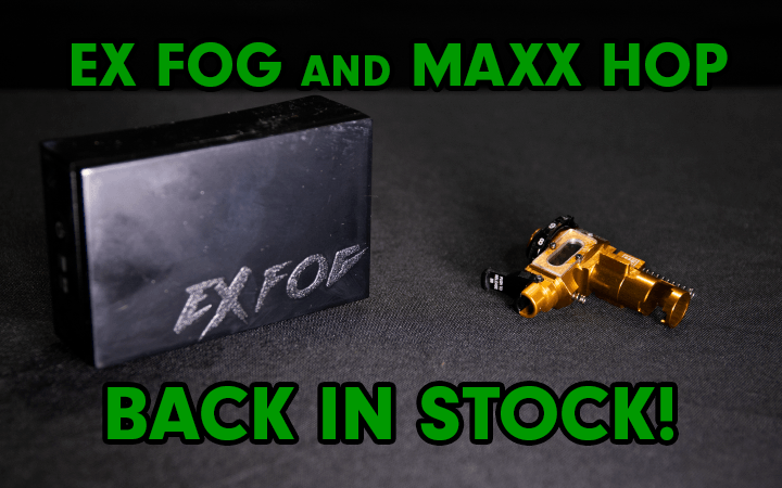 amped airsoft ex fog and maxx hop back in stock