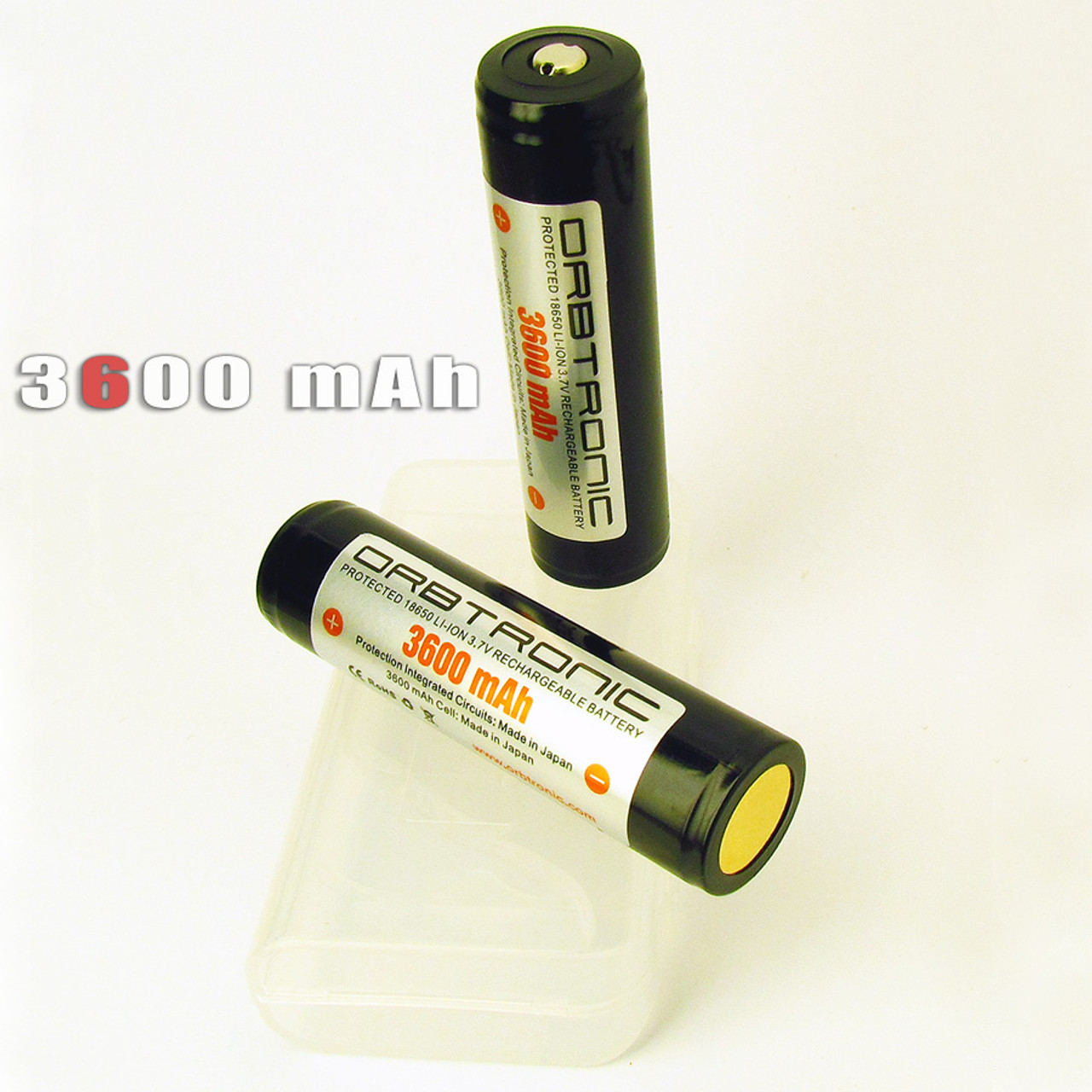 3600mAh 18650 Li-ion Orbtronic (Panasonic inside) 3 7V Rechargeable Battery  Cell - For High Performance Flashlights - Dual Protection - Battery Holder