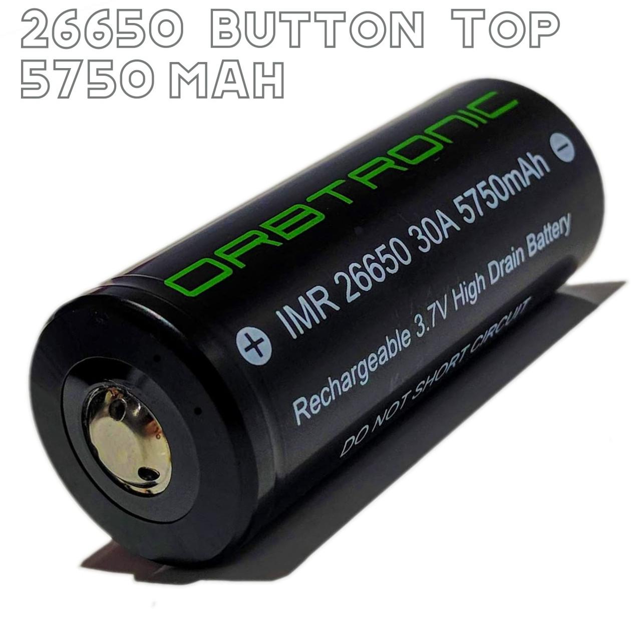 26650 Battery 30A Button Top 5750mAh High Capacity-High Drain 3 7V IMR  Li-ion