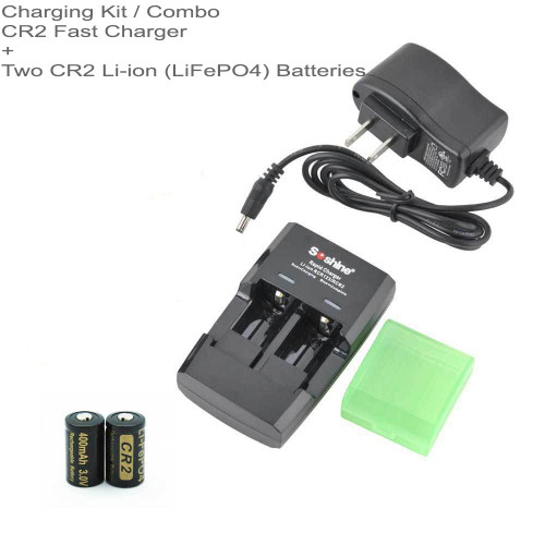 Rapid Li-ion CR2 Charger and TWO CR2 3.0 V Li-ion LiFePO4 Rechargeable Batteries