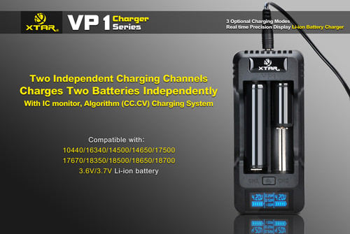 Xtar VP1 Battery Charger (with LCD Display) for Li-ion 18650 18350 18500 14500 16340 (RCR123) Rechargeable 3.7V Batteries