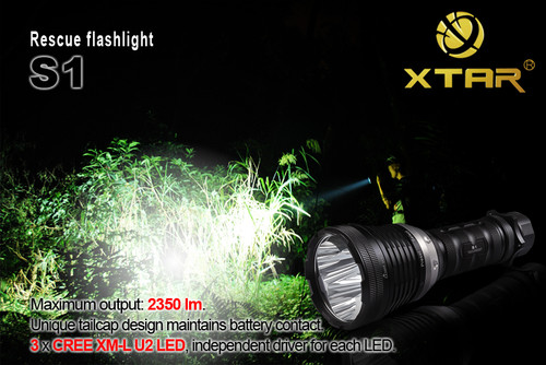 S1 Xtar Search and Rescue Flashlight-Torch 2350 lm 3x CREE XM-L U2 LED 1559 ft Throw