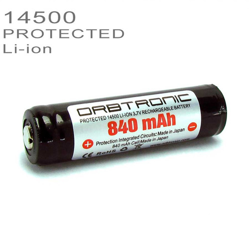 14500 PROTECTED Li-ion Battery 840mAh Rechargeable 3.7V SANYO-PANASONIC cell inside - Battery case Included