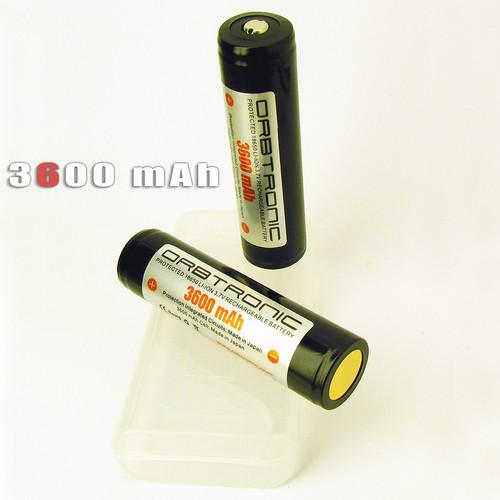 3600mAh 18650 Li-ion Orbtronic (Panasonic inside) 3.7V Rechargeable Battery Cell - For High Performance Flashlights - Dual Protection
