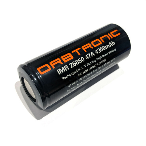 26650 Battery 47A Orbtronic 4350mAh Rechargeable Flat Top High Discharge-High Drain IMR Li-ion 3.7V
