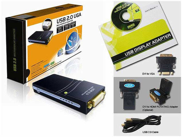 HD 1080p USB 2.0 to DVI-HDMI-VGA 1920x1080 Multi-Display High Resolution Video Adapter
