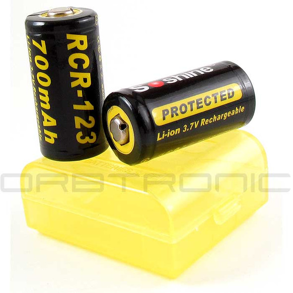 RCR123 Two Protected Rechargeable Li-ion 3.7V Batteries - 16340