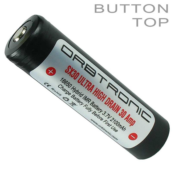 18650 30A Battery Button Top IMR High Drain 3.7V Rechargeable Li-ion SX30 Orbtronic