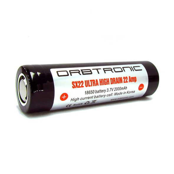 * 22A IMR Orbtronic 18650 SX22 Rechargeable battery Li-ion - Flat Top