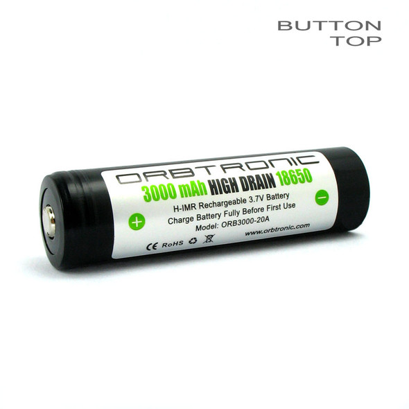 Orbtronic 3000mAh 18650 Battery 20A-35A Li-ion 3.7V Button Top Rechargeable High Drain H-IMR