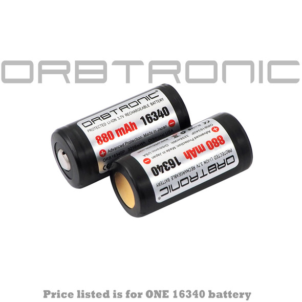 RCR123 Rechargeable Battery Li-ion Rechargeable 3.7V 880mAh Button top Orbtronic
