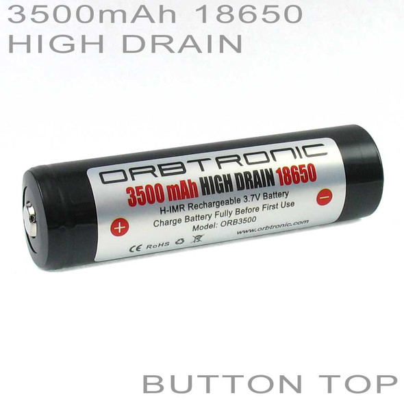 18650 3500mAh High Drain Button Top Battery Orbtronic