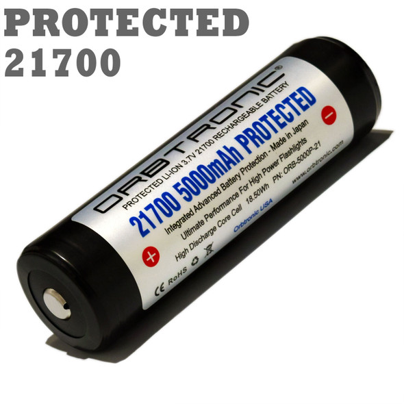 21700 BATTERY PROTECTED BUTTON TOP ORBTRONIC 5000MAH