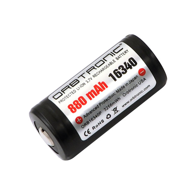 16340 Battery Protected Li-ion Rechargeable 3.7V 880mAh Button top Orbtronic