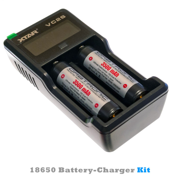 18650 Battery and Charger Kit Combo  VC2S & 2 Orbtronic 3500mAh 18650 Protected Li-ion Batteries