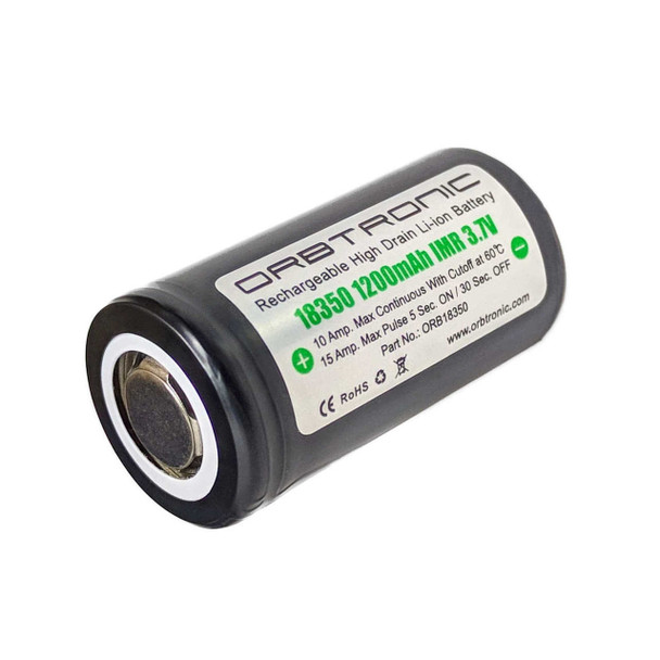 18350 Battery Rechargeable IMR High Drain Flat Top 3.7V 1200mAh Orbtronic