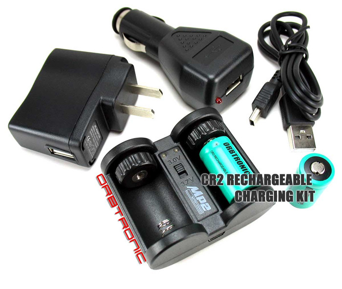CR2 Compact Battery charger & Two Rechargeable CR2 Lithium batteries