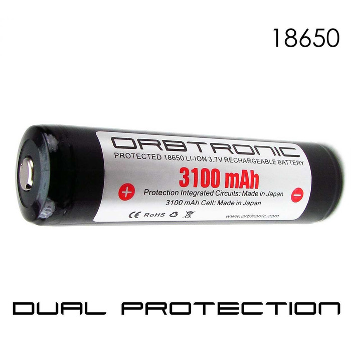 18650 Button Top Battery PROTECTED Li-ion Rechargeable Orbtronic-Panasonic 3.7V Battery Case Included