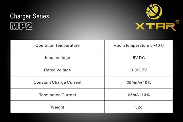 Xtar MP2 Portable Battery Charger Li-ion RCR123 16340 RCR2 15270