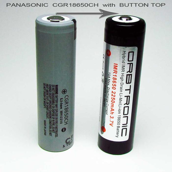 IMR Hybrid 2250mAh Panasonic CGR18650CH 18650 Button Top High Drain Battery 3.7V Li-Mn-Li-ion 10A - NEW 3500mAh battery available now